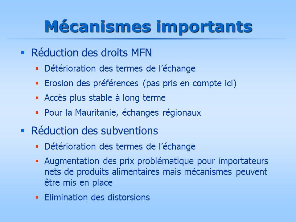 Mécanismes importants  Réduction des droits MFN  Détérioration des termes de l'échange  Erosion des préférences (pas pris en compte ici)  Accès pl