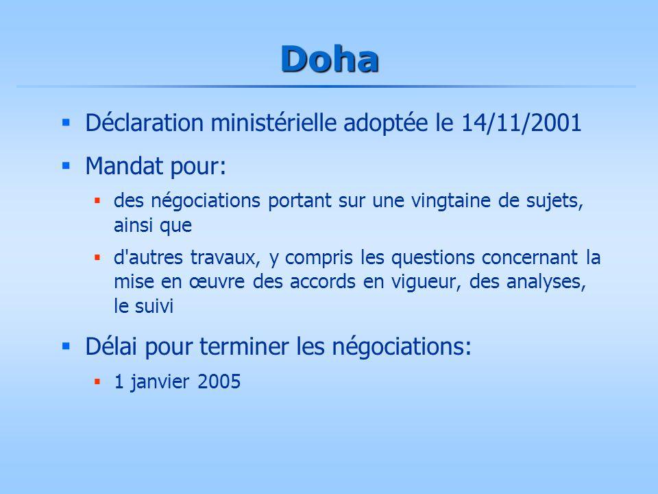 Doha  Déclaration ministérielle adoptée le 14/11/2001  Mandat pour:  des négociations portant sur une vingtaine de sujets, ainsi que  d'autres tra
