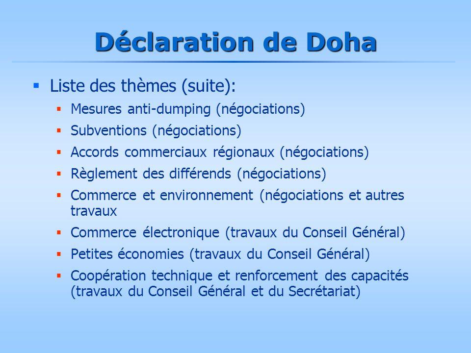 Déclaration de Doha  Liste des thèmes (suite):  Mesures anti-dumping (négociations)  Subventions (négociations)  Accords commerciaux régionaux (né