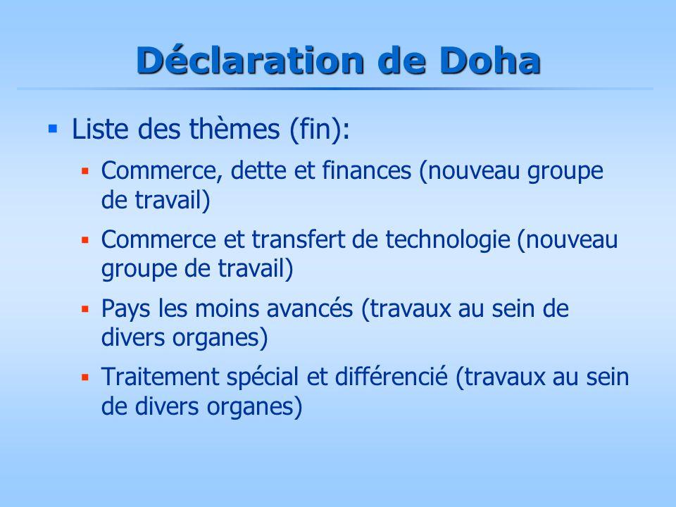 Déclaration de Doha  Liste des thèmes (fin):  Commerce, dette et finances (nouveau groupe de travail)  Commerce et transfert de technologie (nouvea