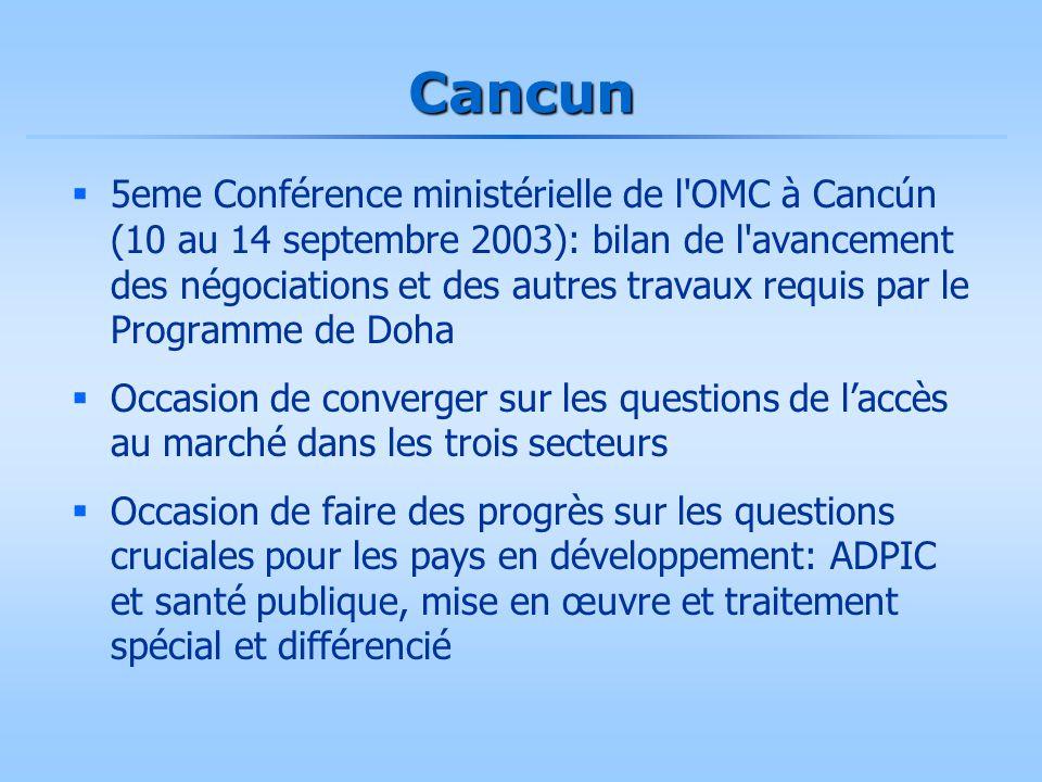 Cancun  5eme Conférence ministérielle de l'OMC à Cancún (10 au 14 septembre 2003): bilan de l'avancement des négociations et des autres travaux requi