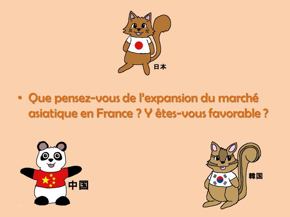 Que pensez-vous de l'expansion du marché asiatique en France ? Y êtes-vous favorable ? Que pensez-vous de l'expansion du marché asiatique en France ?