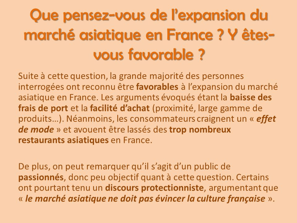Que pensez-vous de l'expansion du marché asiatique en France ? Y êtes- vous favorable ? Suite à cette question, la grande majorité des personnes inter