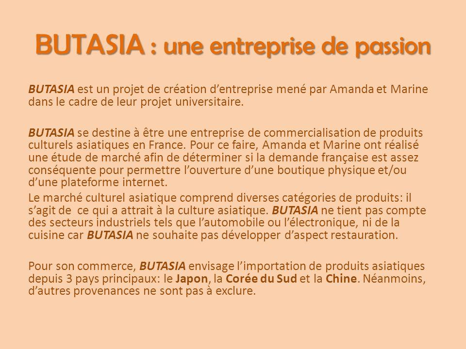 BUTASIA : une entreprise de passion BUTASIA est un projet de création d'entreprise mené par Amanda et Marine dans le cadre de leur projet universitair