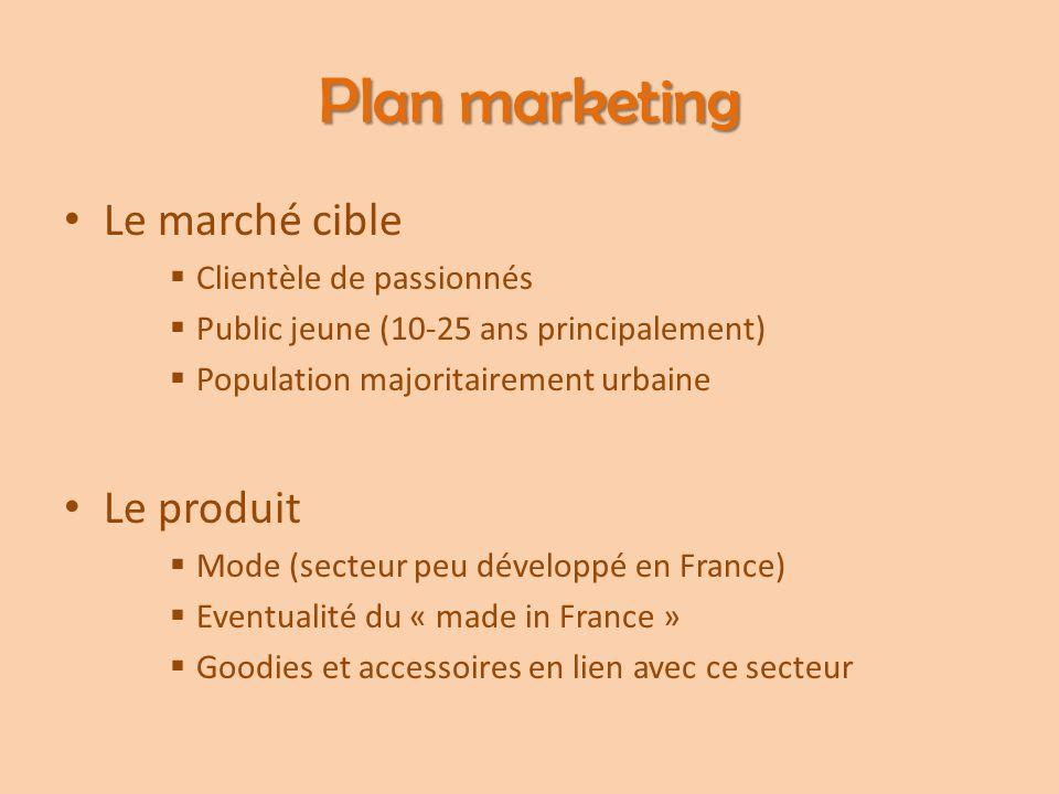 Plan marketing Le marché cible  Clientèle de passionnés  Public jeune (10-25 ans principalement)  Population majoritairement urbaine Le produit  M