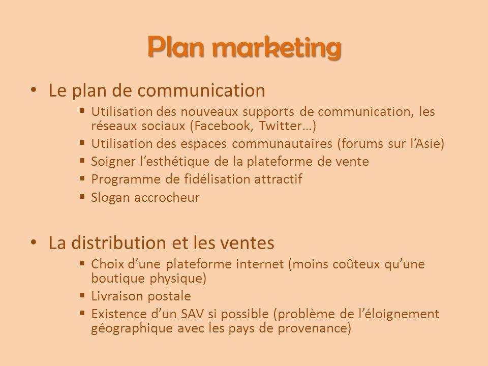 Plan marketing Le plan de communication  Utilisation des nouveaux supports de communication, les réseaux sociaux (Facebook, Twitter…)  Utilisation d
