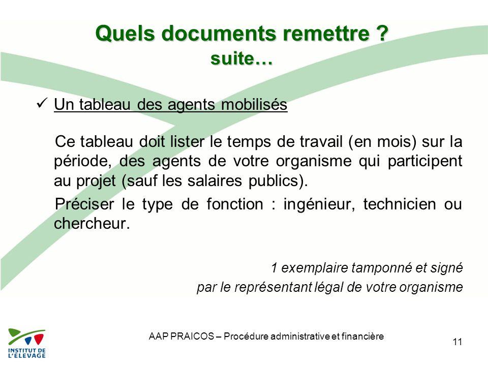AAP PRAICOS – Procédure administrative et financière Quels documents remettre ? suite… Un tableau des agents mobilisés Ce tableau doit lister le temps