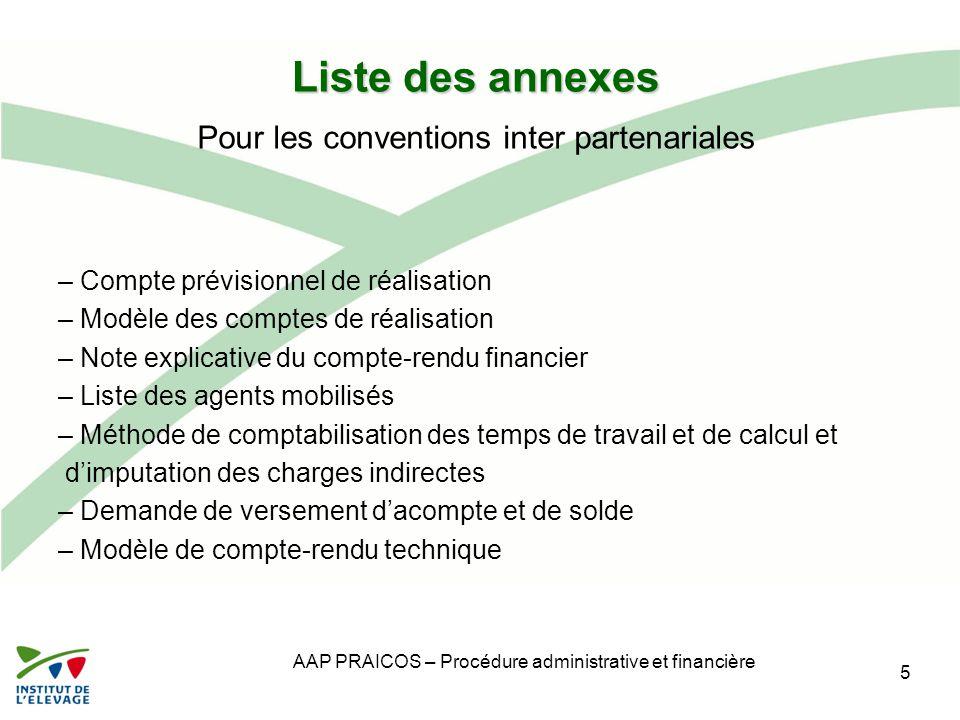AAP PRAICOS – Procédure administrative et financière Liste des annexes – Compte prévisionnel de réalisation – Modèle des comptes de réalisation – Note