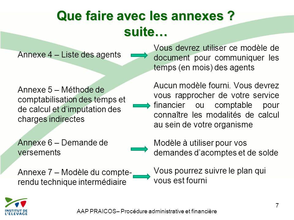 Que faire avec les annexes ? suite… Annexe 4 – Liste des agents Annexe 5 – Méthode de comptabilisation des temps et de calcul et d'imputation des char