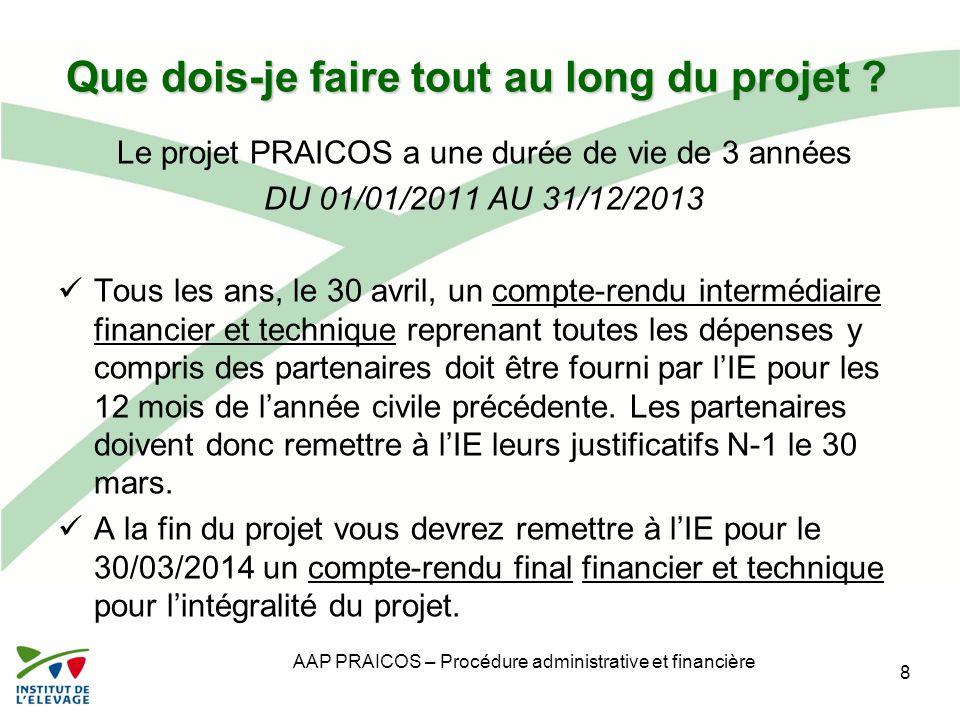 Que dois-je faire tout au long du projet ? Le projet PRAICOS a une durée de vie de 3 années DU 01/01/2011 AU 31/12/2013 Tous les ans, le 30 avril, un