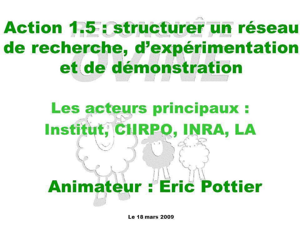 Le 18 mars 2009 Action 1.5 : structurer un réseau de recherche, d'expérimentation et de démonstration Les acteurs principaux : Institut, CIIRPO, INRA,