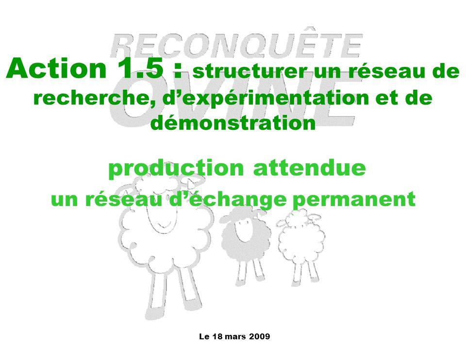 Le 18 mars 2009 Action 1.5 : structurer un réseau de recherche, d'expérimentation et de démonstration production attendue un réseau d'échange permanen
