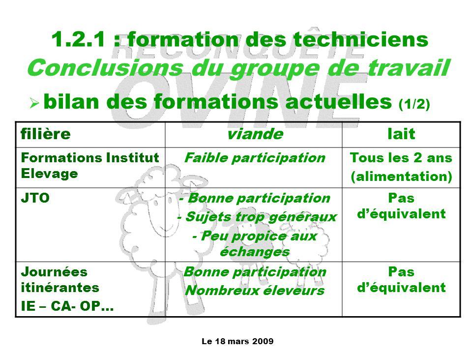 Le 18 mars 2009 1.2.1 : formation des techniciens Conclusions du groupe de travail  bilan des formations actuelles (1/2) filièreviandelait Formations