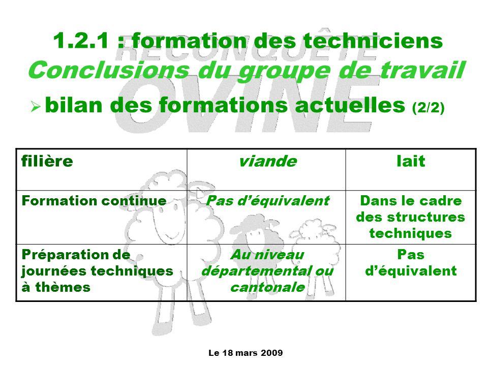 Le 18 mars 2009 1.2.1 : formation des techniciens Conclusions du groupe de travail  bilan des formations actuelles (2/2) filièreviandelait Formation