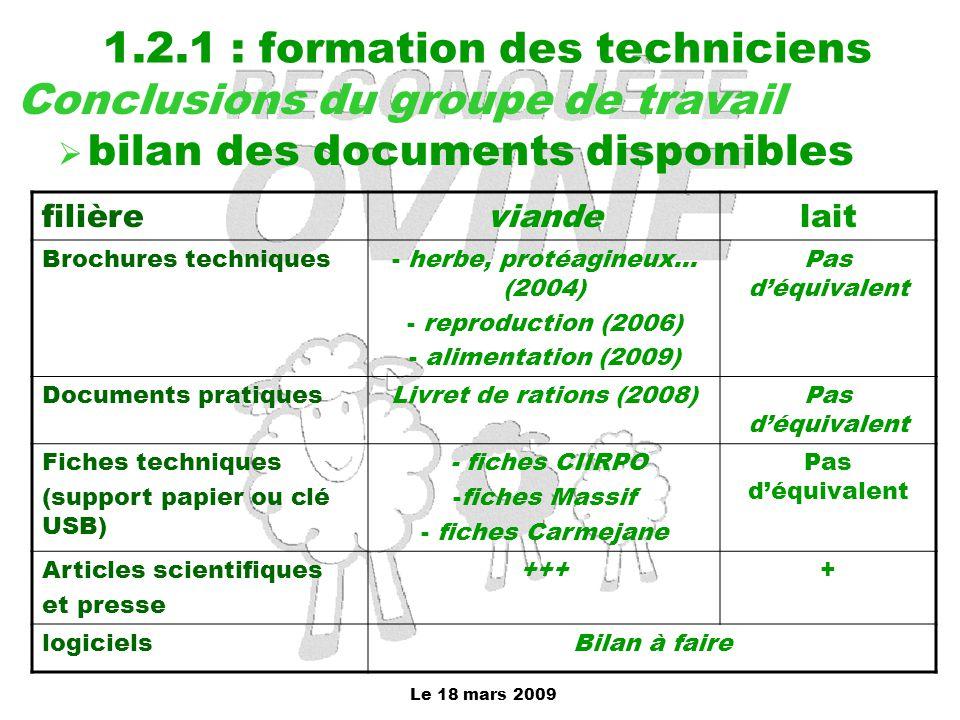Le 18 mars 2009 1.2.1 : formation des techniciens Conclusions du groupe de travail  bilan des documents disponibles filièreviandelait Brochures techn