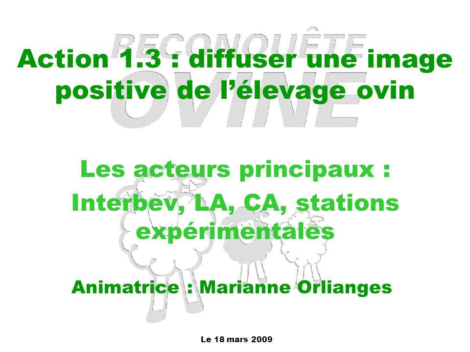 Le 18 mars 2009 Action 1.3 : diffuser une image positive de l'élevage ovin Les acteurs principaux : Interbev, LA, CA, stations expérimentales Animatri