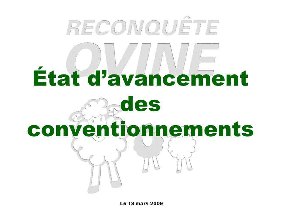 Le 18 mars 2009 État d'avancement des conventionnements