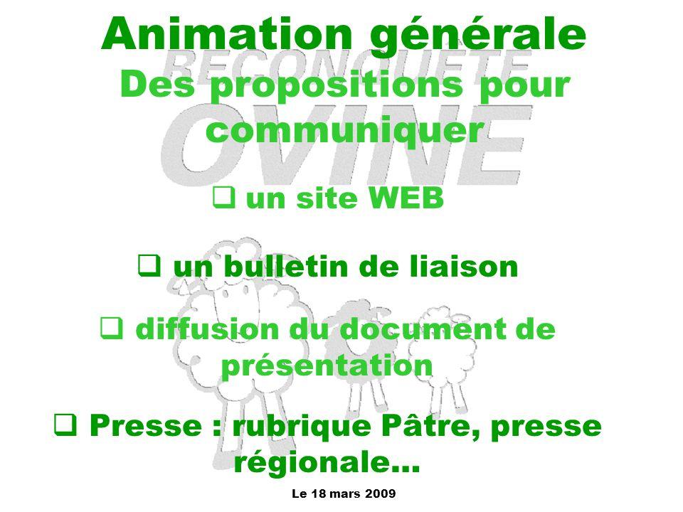 Le 18 mars 2009 Animation générale Des propositions pour communiquer  un site WEB  un bulletin de liaison  diffusion du document de présentation 
