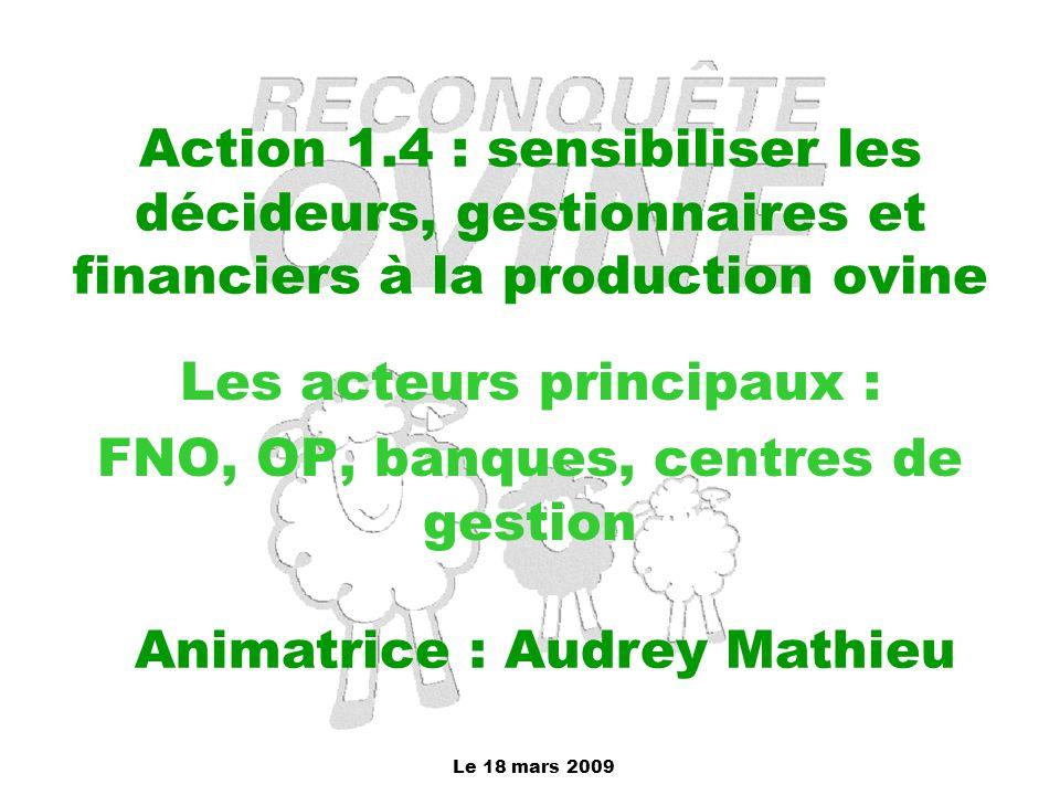 Le 18 mars 2009 Action 1.4 : sensibiliser les décideurs, gestionnaires et financiers à la production ovine Les acteurs principaux : FNO, OP, banques,