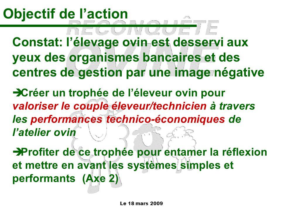 Le 18 mars 2009 Objectif de l'action Constat: l'élevage ovin est desservi aux yeux des organismes bancaires et des centres de gestion par une image né