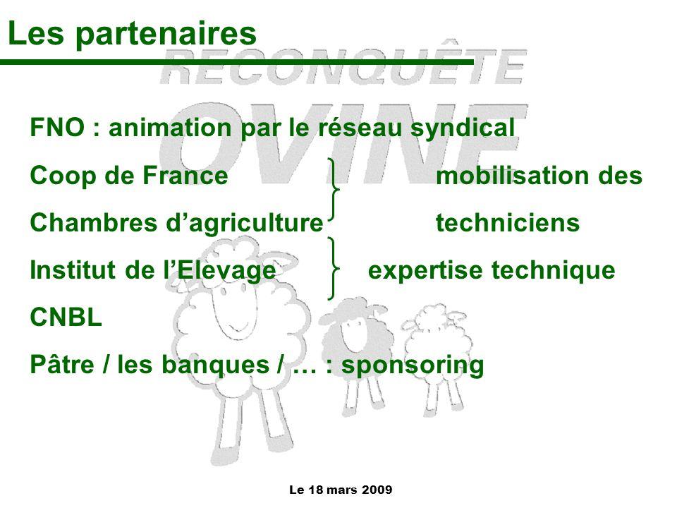 Le 18 mars 2009 Les partenaires FNO : animation par le réseau syndical Coop de France mobilisation des Chambres d'agriculture techniciens Institut de