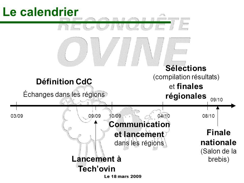 Le 18 mars 2009 Le calendrier Définition CdC Échanges dans les régions Communication et lancement dans les régions Sélections (compilation résultats)