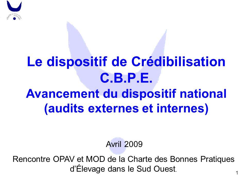 1 Le dispositif de Crédibilisation C.B.P.E. Avancement du dispositif national (audits externes et internes) Avril 2009 Rencontre OPAV et MOD de la Cha