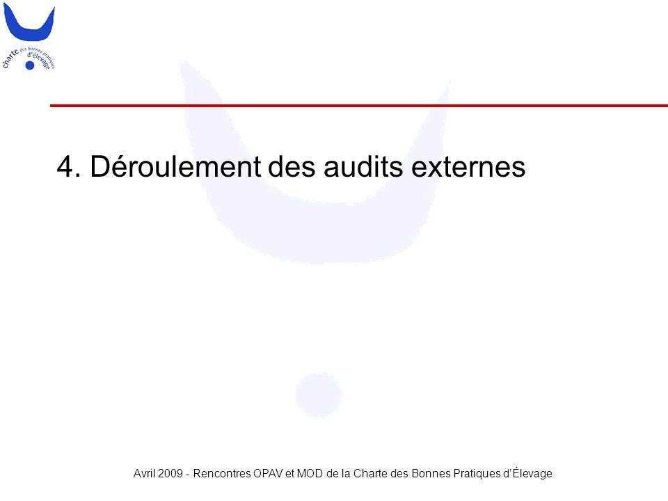 Avril 2009 - Rencontres OPAV et MOD de la Charte des Bonnes Pratiques d'Élevage 4. Déroulement des audits externes
