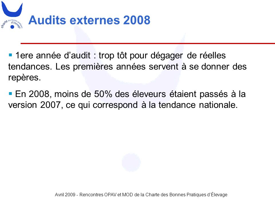 Avril 2009 - Rencontres OPAV et MOD de la Charte des Bonnes Pratiques d'Élevage Audits externes 2008  1ere année d'audit : trop tôt pour dégager de r