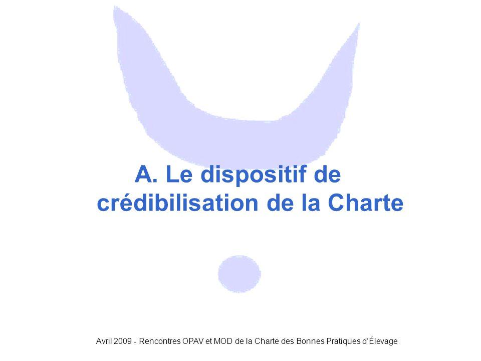 Avril 2009 - Rencontres OPAV et MOD de la Charte des Bonnes Pratiques d'Élevage A. Le dispositif de crédibilisation de la Charte