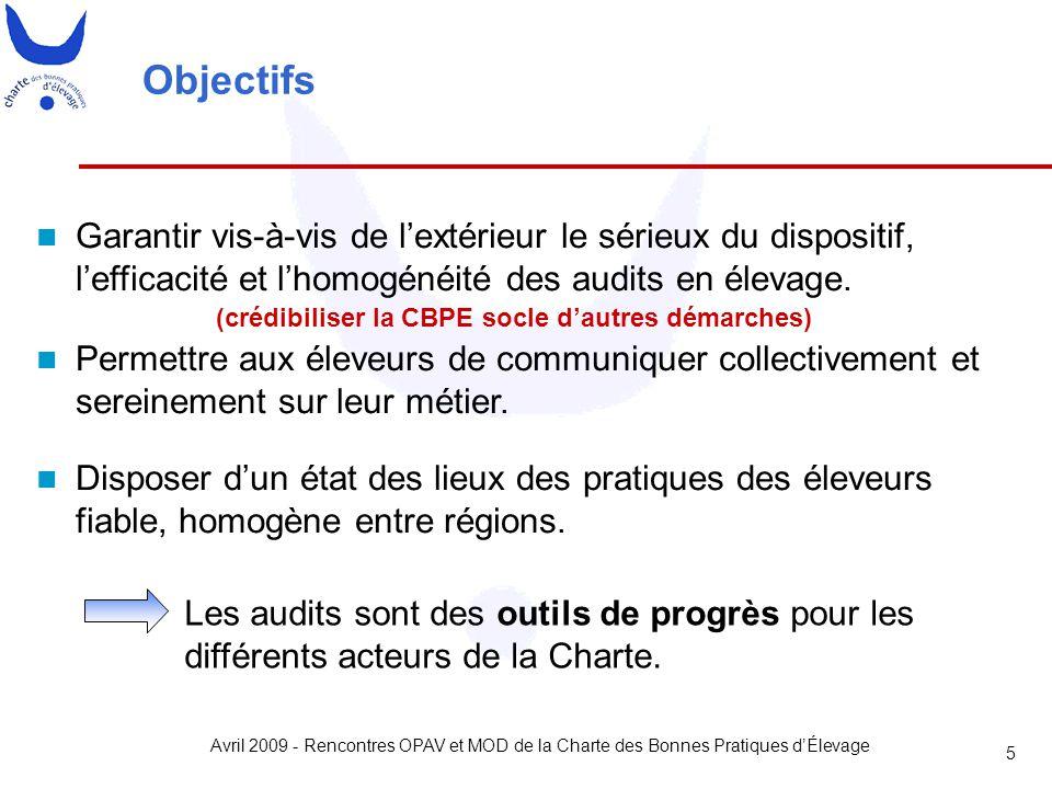 Avril 2009 - Rencontres OPAV et MOD de la Charte des Bonnes Pratiques d'Élevage 5 Objectifs Garantir vis-à-vis de l'extérieur le sérieux du dispositif