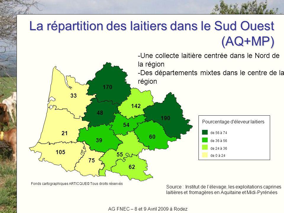 AG FNEC – 8 et 9 Avril 2009 à Rodez Titre de la manifestation La répartition des laitiers dans le Sud Ouest (AQ+MP) 21 170 60 54 105 190 55 142 75 39