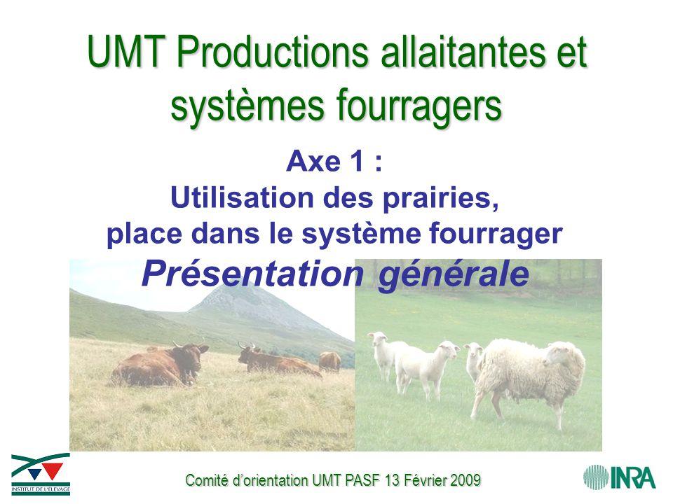 Comité d'orientation UMT PASF 13 Février 2009 UMT Productions allaitantes et systèmes fourragers Axe 1 : Utilisation des prairies, place dans le système fourrager Présentation générale