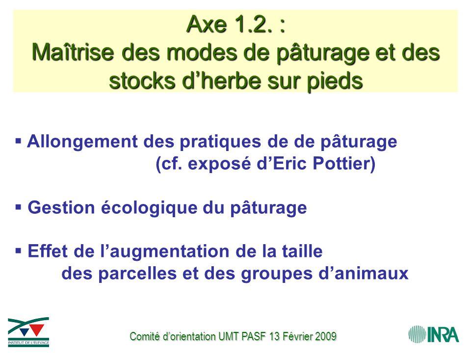 Comité d'orientation UMT PASF 13 Février 2009 Axe 1.2. : Maîtrise des modes de pâturage et des stocks d'herbe sur pieds  Allongement des pratiques de