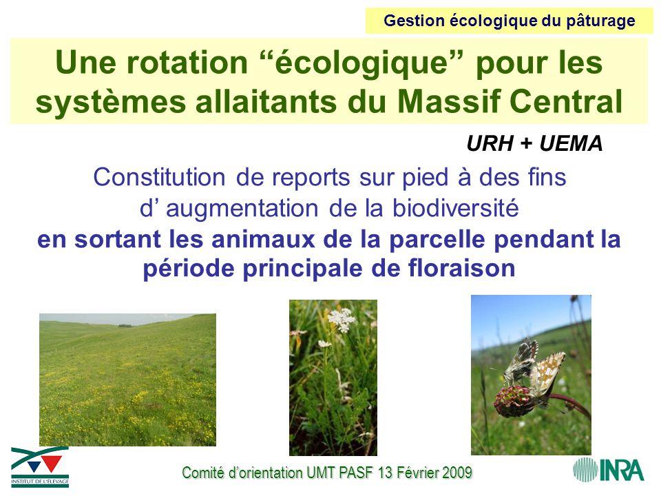 Comité d'orientation UMT PASF 13 Février 2009 Constitution de reports sur pied à des fins d' augmentation de la biodiversité en sortant les animaux de la parcelle pendant la période principale de floraison Une rotation écologique pour les systèmes allaitants du Massif Central URH + UEMA Gestion écologique du pâturage