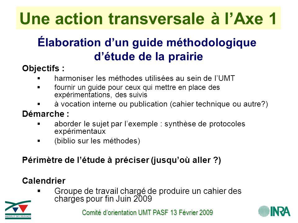 Comité d'orientation UMT PASF 13 Février 2009 Une action transversale à l'Axe 1 Élaboration d'un guide méthodologique d'étude de la prairie Objectifs