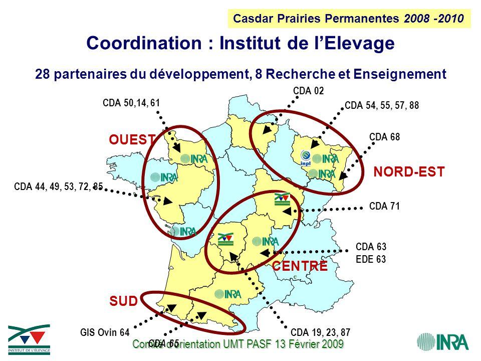 Comité d'orientation UMT PASF 13 Février 2009 CDA 63 EDE 63 Coordination : Institut de l'Elevage 28 partenaires du développement, 8 Recherche et Ensei