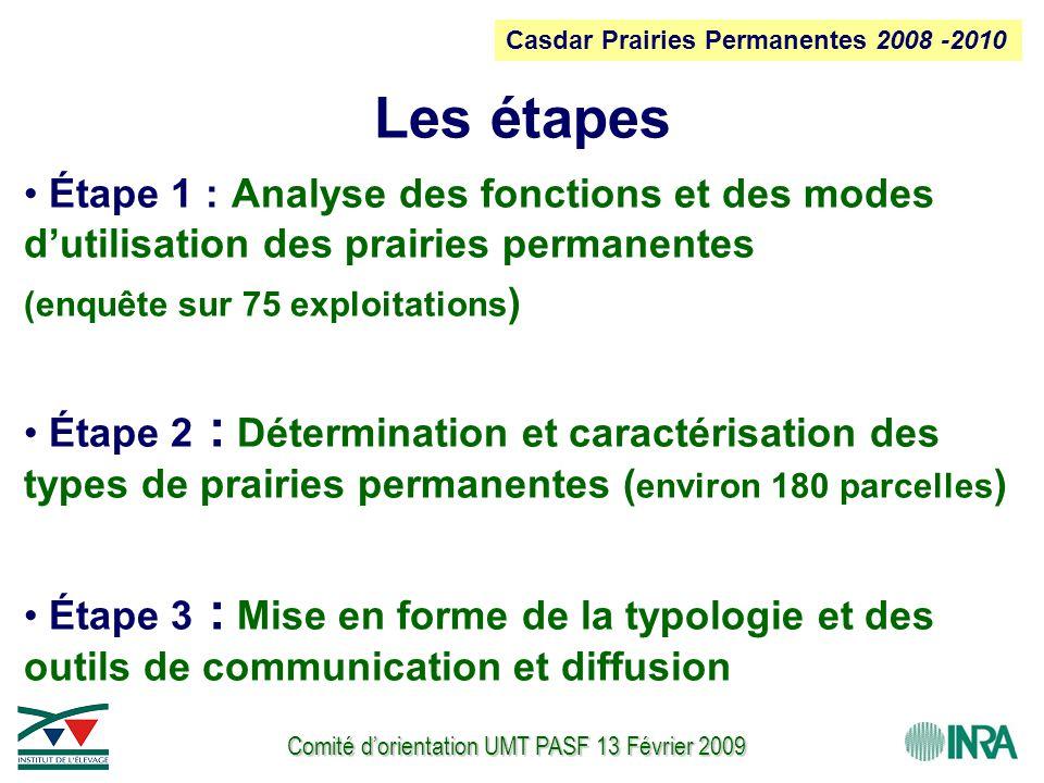 Comité d'orientation UMT PASF 13 Février 2009 Les étapes Étape 1 : Analyse des fonctions et des modes d'utilisation des prairies permanentes (enquête