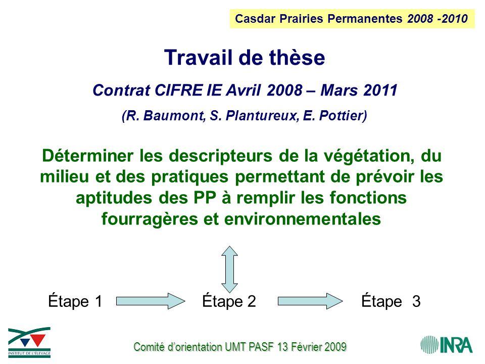 Comité d'orientation UMT PASF 13 Février 2009 Étape 1Étape 2 Déterminer les descripteurs de la végétation, du milieu et des pratiques permettant de prévoir les aptitudes des PP à remplir les fonctions fourragères et environnementales Travail de thèse Contrat CIFRE IE Avril 2008 – Mars 2011 (R.