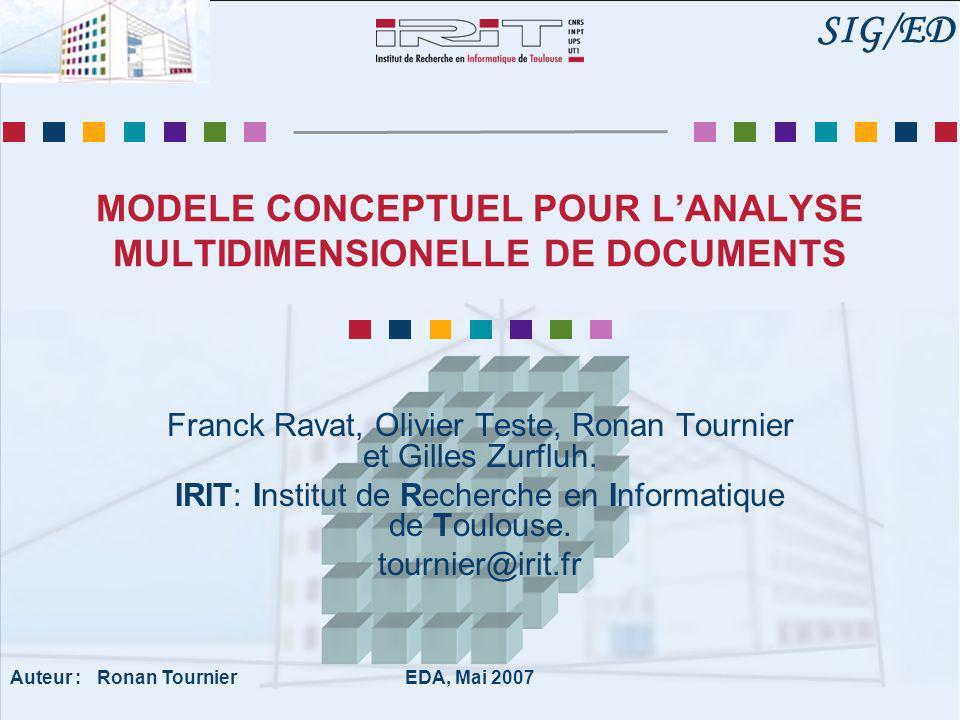 IRIT, SIG/ED EDA 2007 2 Plan Introduction : Cadre d'étude Contexte Exemple Problématique Modèle conceptuel Manipulations multidimensionnelles Conclusion et perspectives
