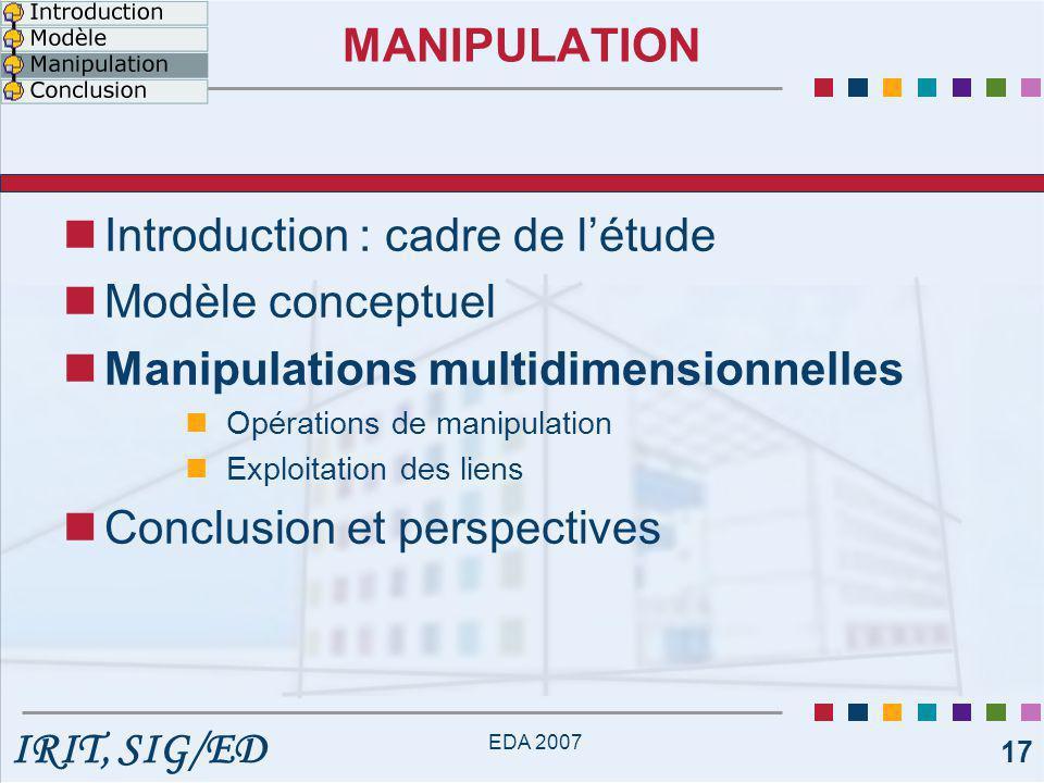 IRIT, SIG/ED EDA 2007 17 MANIPULATION Introduction : cadre de l'étude Modèle conceptuel Manipulations multidimensionnelles Opérations de manipulation Exploitation des liens Conclusion et perspectives