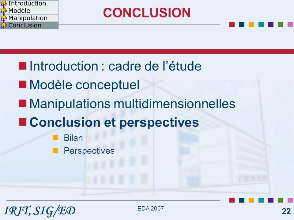 IRIT, SIG/ED EDA 2007 22 CONCLUSION Introduction : cadre de l'étude Modèle conceptuel Manipulations multidimensionnelles Conclusion et perspectives Bilan Perspectives