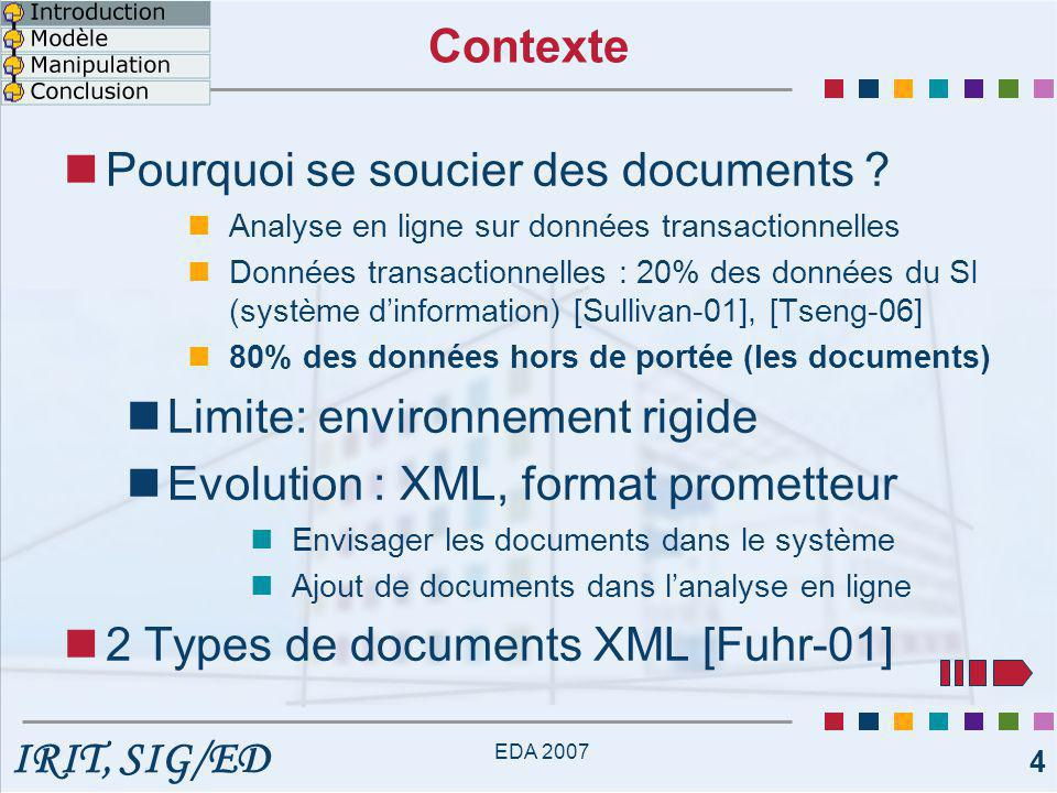 IRIT, SIG/ED EDA 2007 5 [1] Documents orientés données Transactions (expressions/résumés d'opérations) Reposent sur une structure de données Format d'échange structuré Ex.