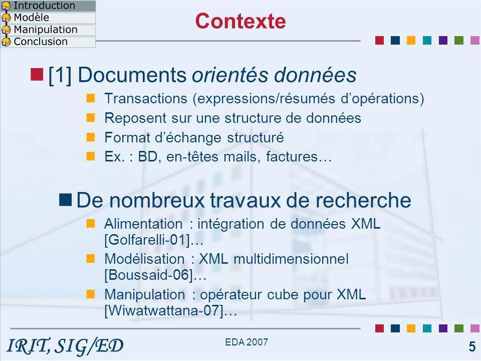 IRIT, SIG/ED EDA 2007 6 [2] Documents orientés documents Documents d'information Principalement composés de texte Ex.