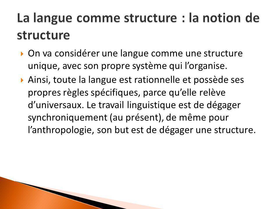  On va considérer une langue comme une structure unique, avec son propre système qui l'organise.  Ainsi, toute la langue est rationnelle et possède