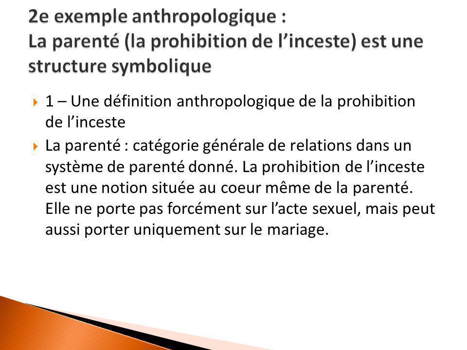  1 – Une définition anthropologique de la prohibition de l'inceste  La parenté : catégorie générale de relations dans un système de parenté donné. L