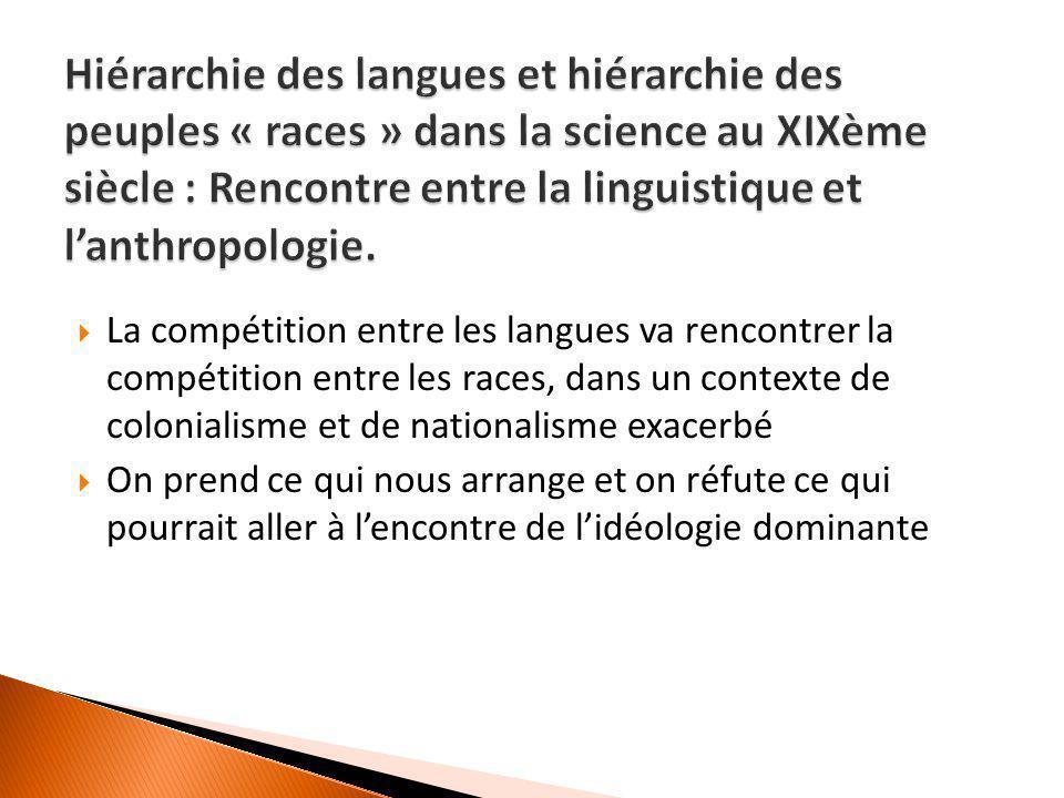  La compétition entre les langues va rencontrer la compétition entre les races, dans un contexte de colonialisme et de nationalisme exacerbé  On pre