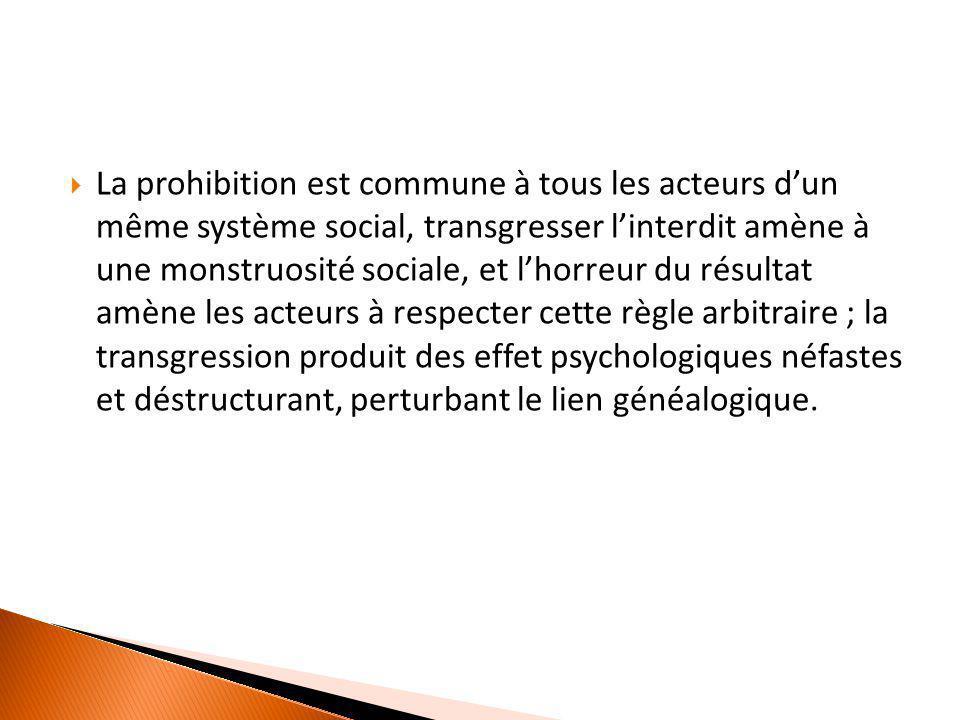  La prohibition est commune à tous les acteurs d'un même système social, transgresser l'interdit amène à une monstruosité sociale, et l'horreur du ré