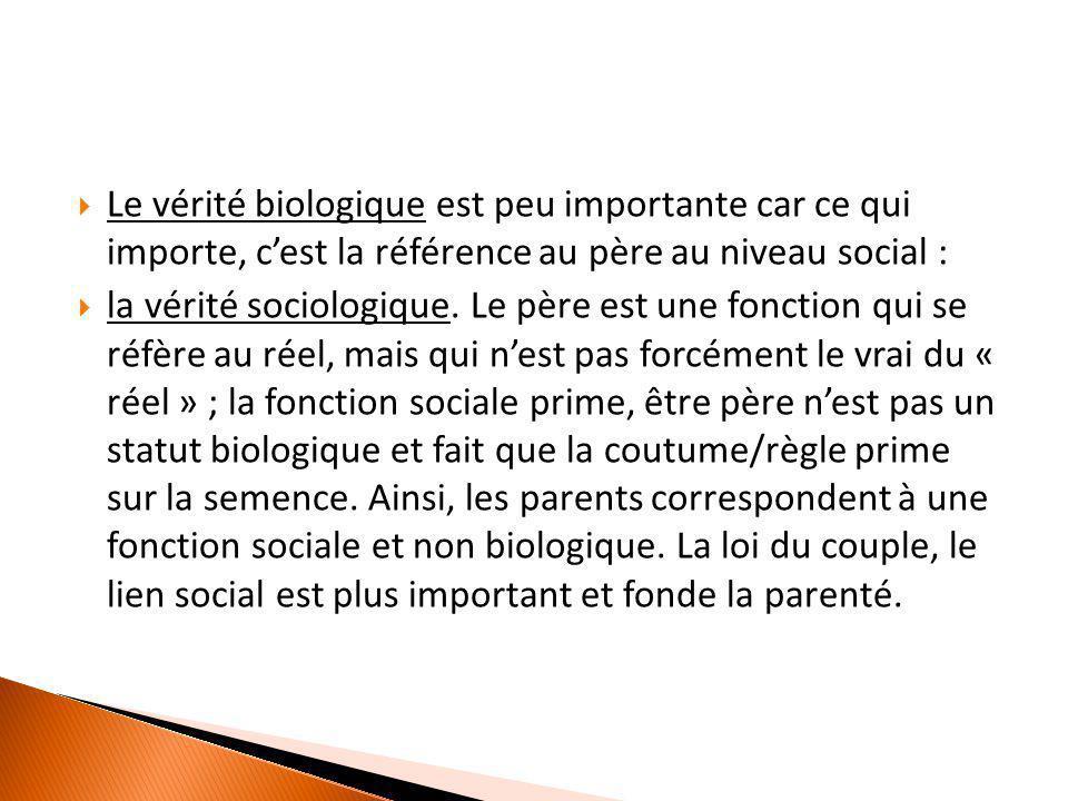  Le vérité biologique est peu importante car ce qui importe, c'est la référence au père au niveau social :  la vérité sociologique. Le père est une