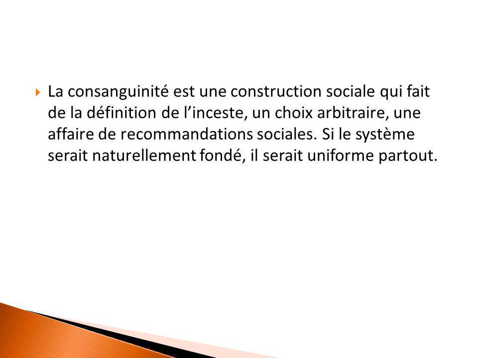  La consanguinité est une construction sociale qui fait de la définition de l'inceste, un choix arbitraire, une affaire de recommandations sociales.